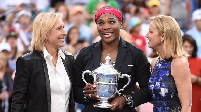 Martina Navratilova, Serena Williams und Chris Evert (v.l.n.r.) stehen zusammen für unglaubliche 16 Titel bei den US open