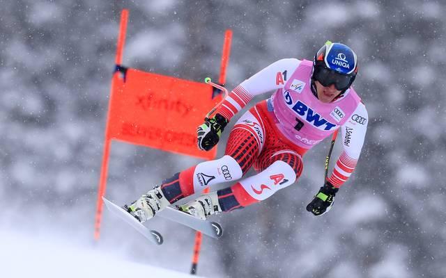 Ski alpin, Kitzbühel. Streif: Training mit Mayer, Ferstl  , Der Österreicher Matthias Mayer auf der legendären Streif in Kitzbühel