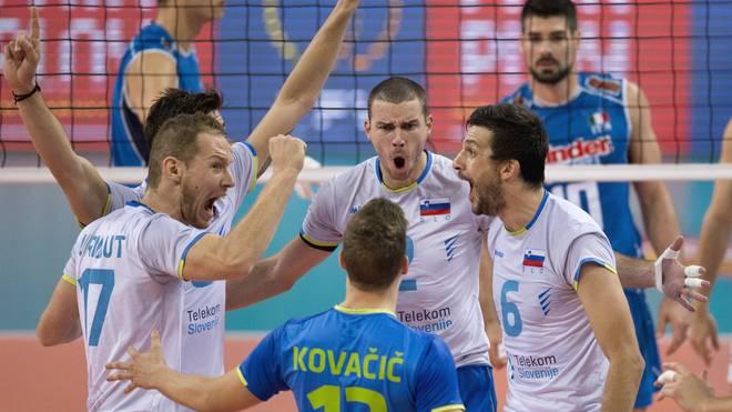Slowenien gegen Italien bei der Volleyball-EM