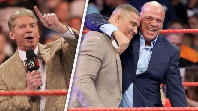 WWE-Boss Vince McMahon soll sich die Vater-Sohn-Story um Kurt Angle (r.) und Jason Jordan selbst ausgedacht haben