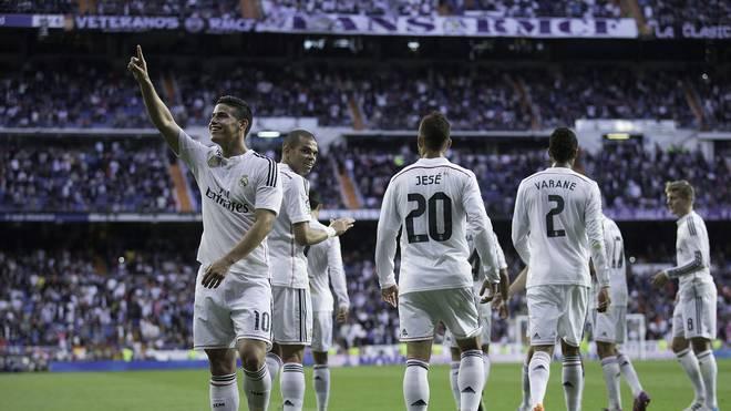 James Rodriguez (l.) erzielt die Führung für Real Madrid