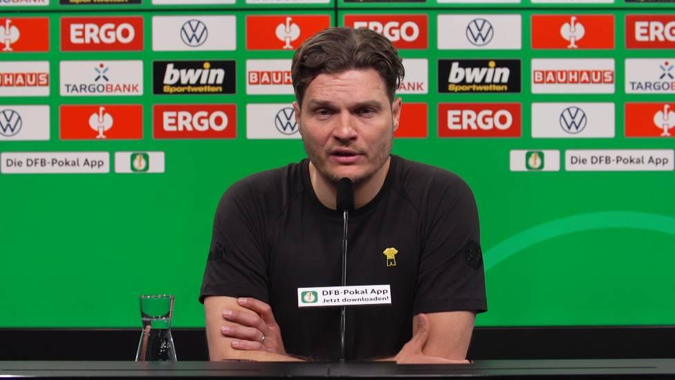 Erling Haaland wirkt beim Dortmunder Sieg im Pokalhalbfinale gegen Kiel nicht mit. Edin Terzic verrät, warum der Norweger für einen Einsatz nicht in Frage kam und wie es ihm geht.