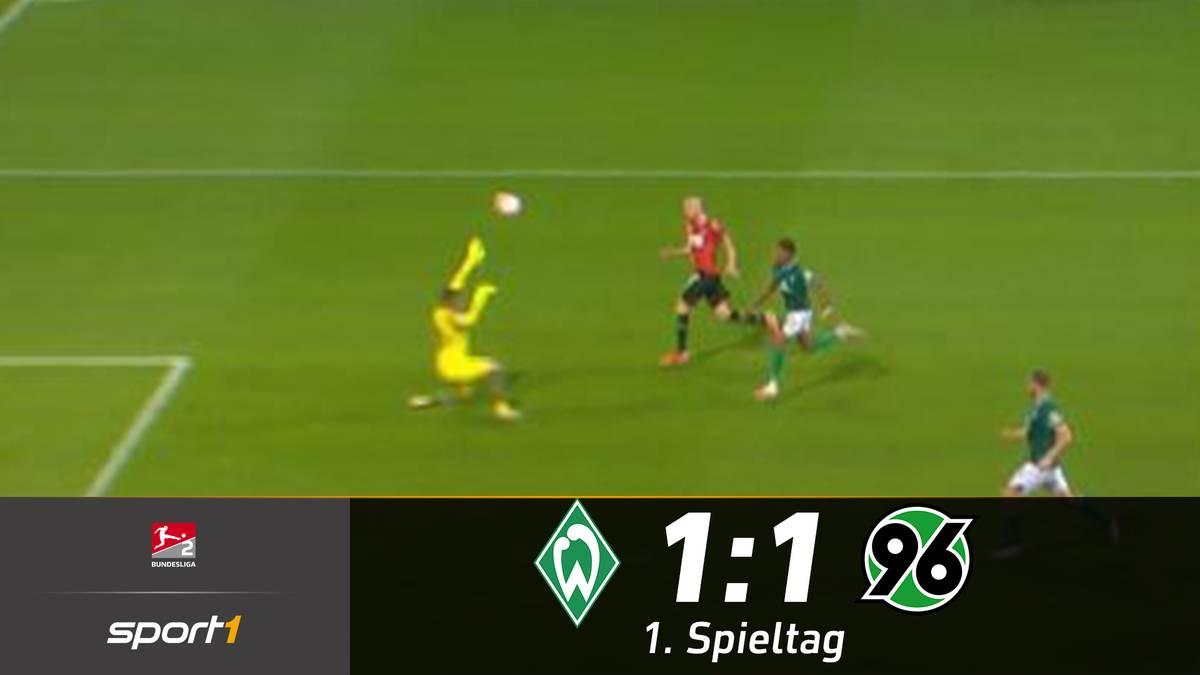 Werder Bremen schafft in einem emotionalen Nordderby gegen Hannover nur ein Remis. Marvin Ducksch trifft mit einem sehenswerten Lupfer für die 96er.
