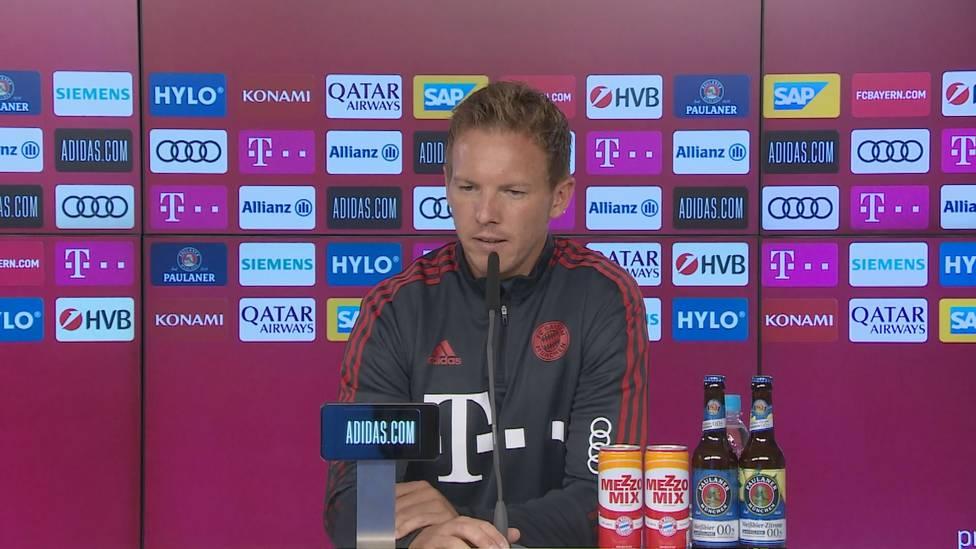 Sorgen um Kingsley Coman: Der Franzose musste sich einer kleinen Herz-Operation unterziehen. Julian Nagelsmann erklärt auf der Pressekonferenz vor dem Spiel gegen den VfL Bochum, wie es dem Franzosen geht.