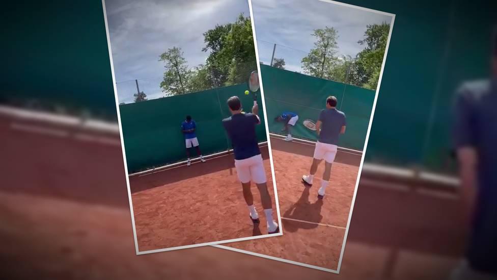 Roger Federer trifft seinen Kumpel Gaël Monfils bei einer Challenge nach dem Training einer sehr schmerzhaften Stelle.
