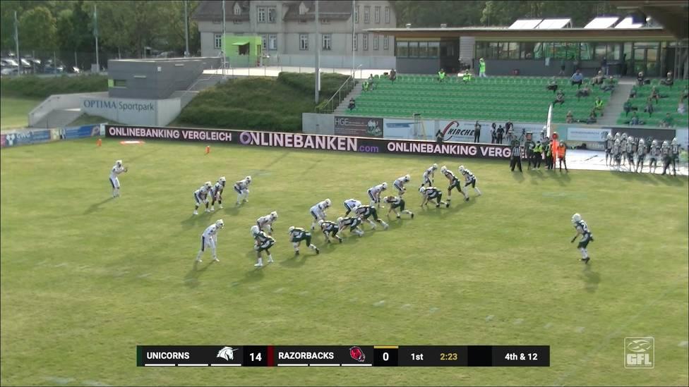 Zum Auftakt der neuen Saison in der German Football League gewinnt der amtierende Vizemeister Schwäbisch Hall Unicorns mit 58:14 gegen Aufsteiger Ravensburg Razorbacks.