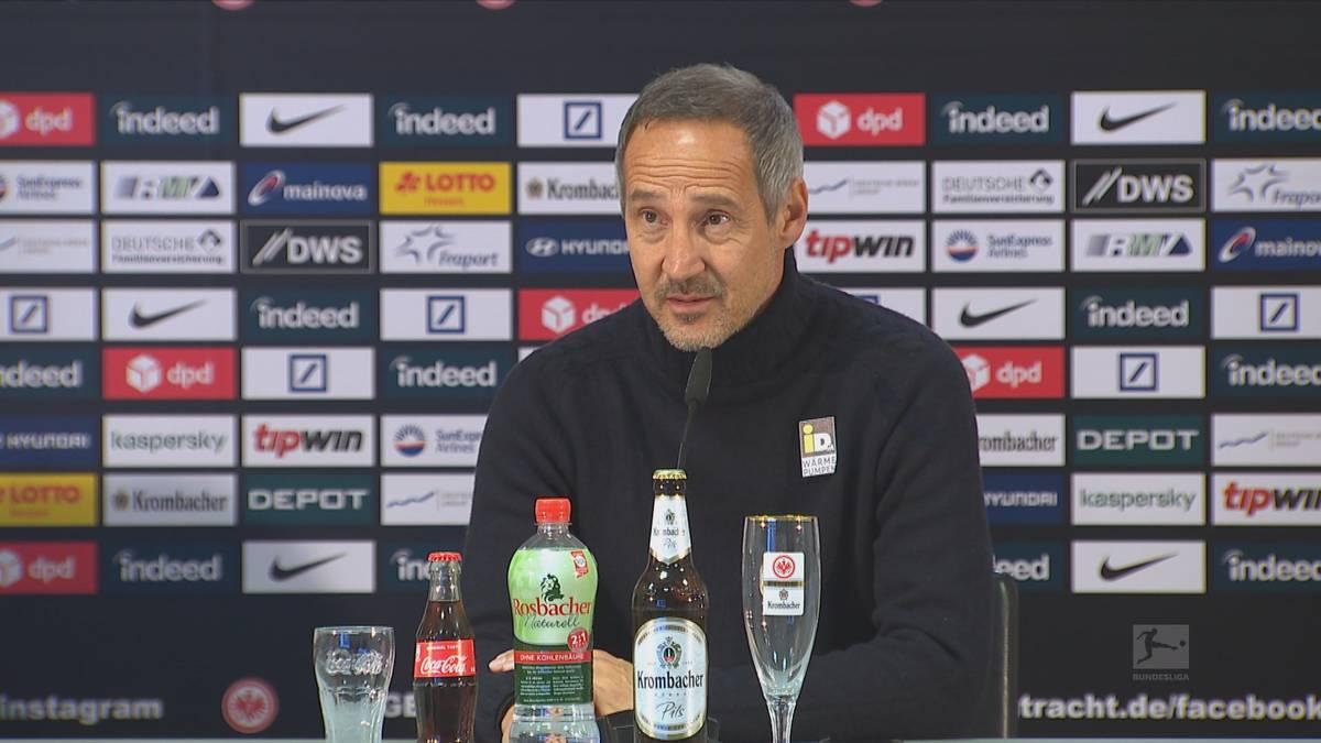 Adi Hütter bewies gegen RB Leipzig Mut und startete unter anderem mit Erik Durm als Rechtsverteidiger. Der Eintracht-Coach erklärt, wieso er sich für Durm entschieden hat.