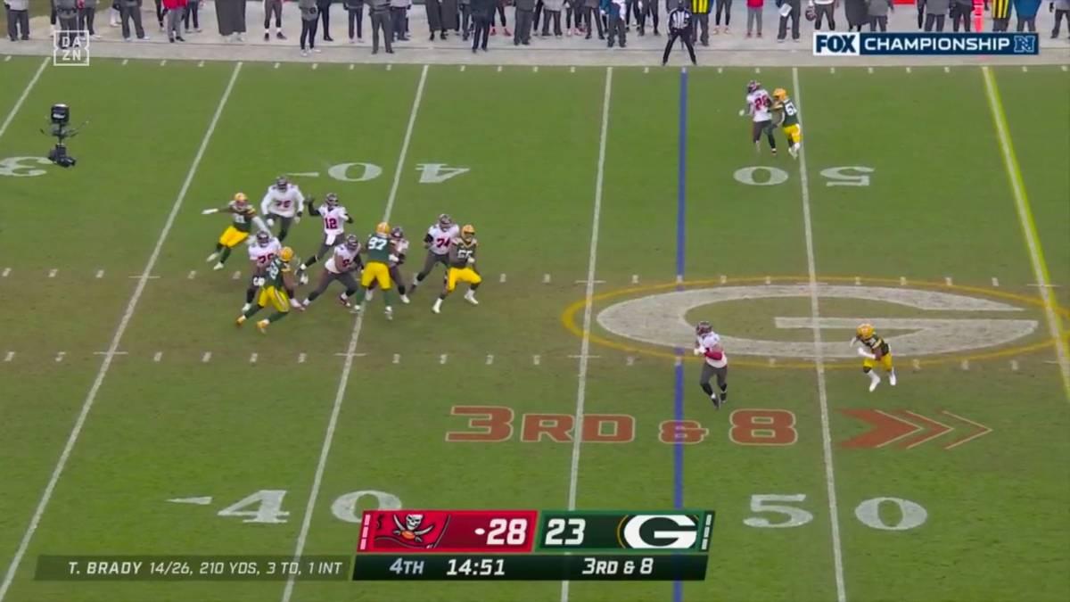 In Halbzeit zwei wirft Tom Brady drei Interceptions, dennoch reicht es für den 6-maligen Super-Bowl-Gewinner zum Sieg über die Packers. Damit spielen die Bucs den Super Bowl in ihrem Heimstadion.
