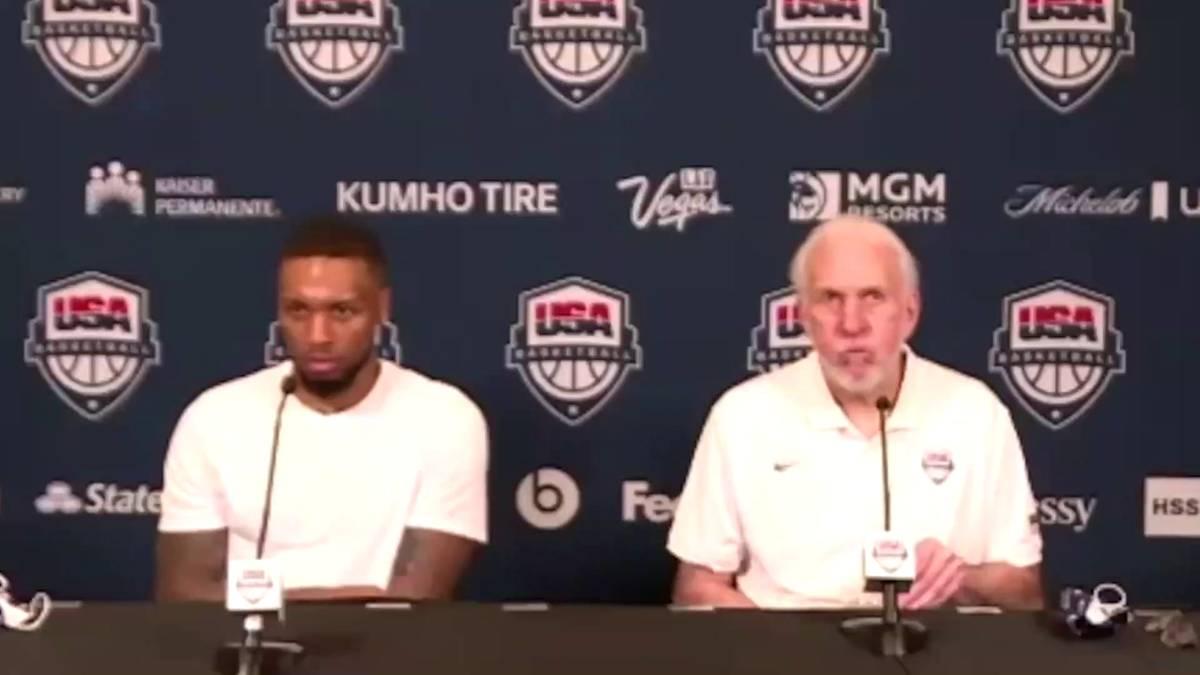 US-Basketball-Coach Gregg Popovich ist nie um deutliche Worte verlegen. Bei einer PK weist er einen Reporter klar in die Schranken.