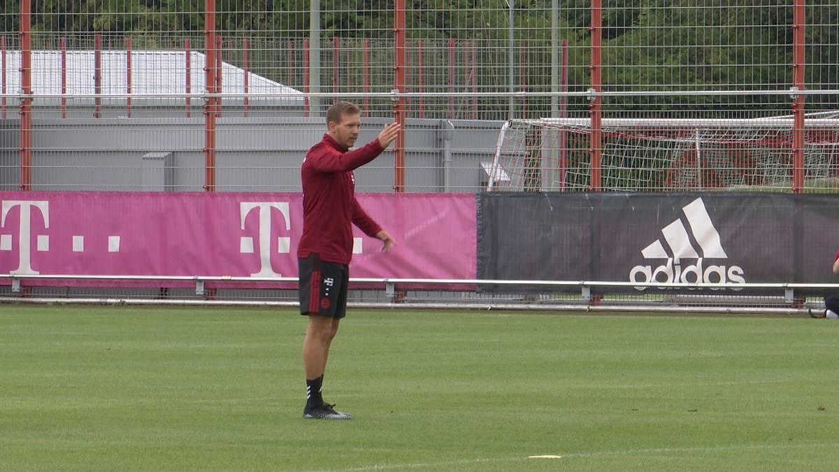 Die Bayern starten mit Neu-Trainer Julian Nagelsmann und ohne 13 EM-Fahrer in die neue Saison. Beim Trainingsauftakt zeigt sich Nagelsmann direkt als Lautsprecher.