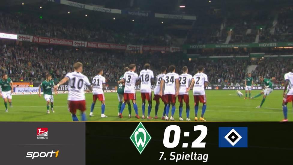 Der Hamburger SV hat das Nordderby für sich entschieden. Für die kurioseste Szene des Abends sorgte Werders Mitchell Weiser.