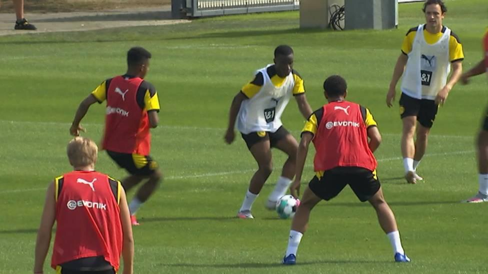 Borussia Dortmund absolviert das erste Mannschaftstraining der Vorbereitung. Trainer Lucien Favre begrüßt dabei die Neuzugänge.