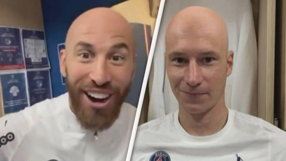 """Viel Spaß und gute Laune verbreitet Thilo Kehrer in der PSG-Kabine. Der Verteidiger """"rasiert"""" Mbappé, Ramos und Co. mithilfe eines Instagramfilters die Haare ab und sorgt damit für Gelächter."""