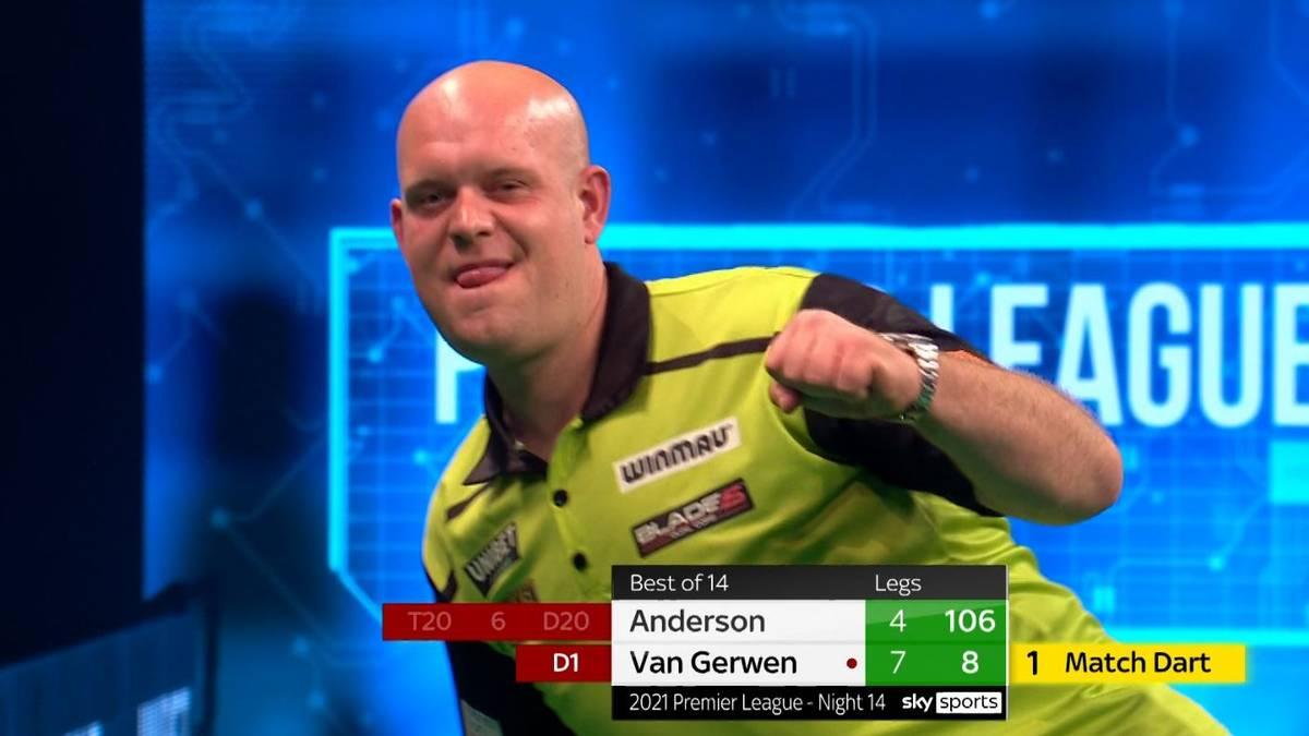 """""""MvG"""" gewinnt mit 8:4 gegen """"The Flying Scotsman"""" und schiebt sich zurück auf den ersten Tabellenrang. Für Gary Anderson besteht keine Chance mehr, das Halbfinale zu erreichen."""