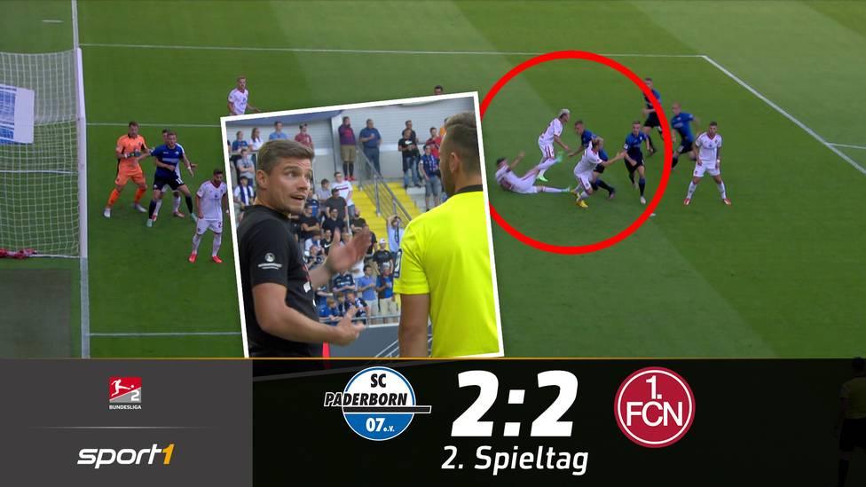 Der SC Paderborn und 1. FC Nürnberg liefern sich ein rassiges Zweitliga-Spiel und trennen sich mit 2:2. Besonders der Treffer zum 1:0 ist fraglich.
