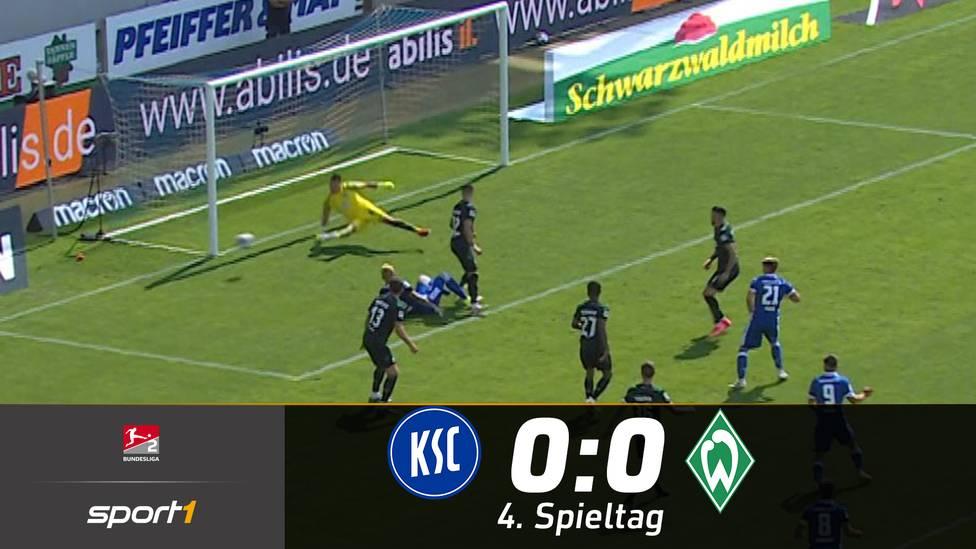 Werder Bremen kommt trotz 30 Minuten in Überzahl nicht über ein 0:0 beim KSC hinaus. Die Badener hatten sogar die große Chance auf den Sieg.