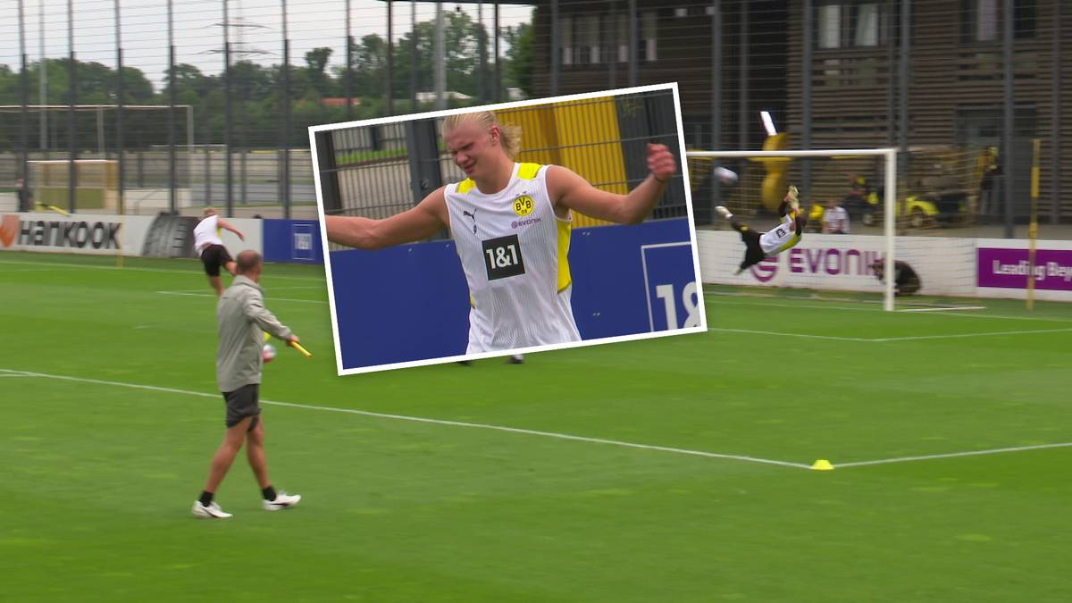 Erling Haaland ist zurück beim BVB und testet gleich mal den neuen Keeper Gregor Kobel - ohne Erfolg!