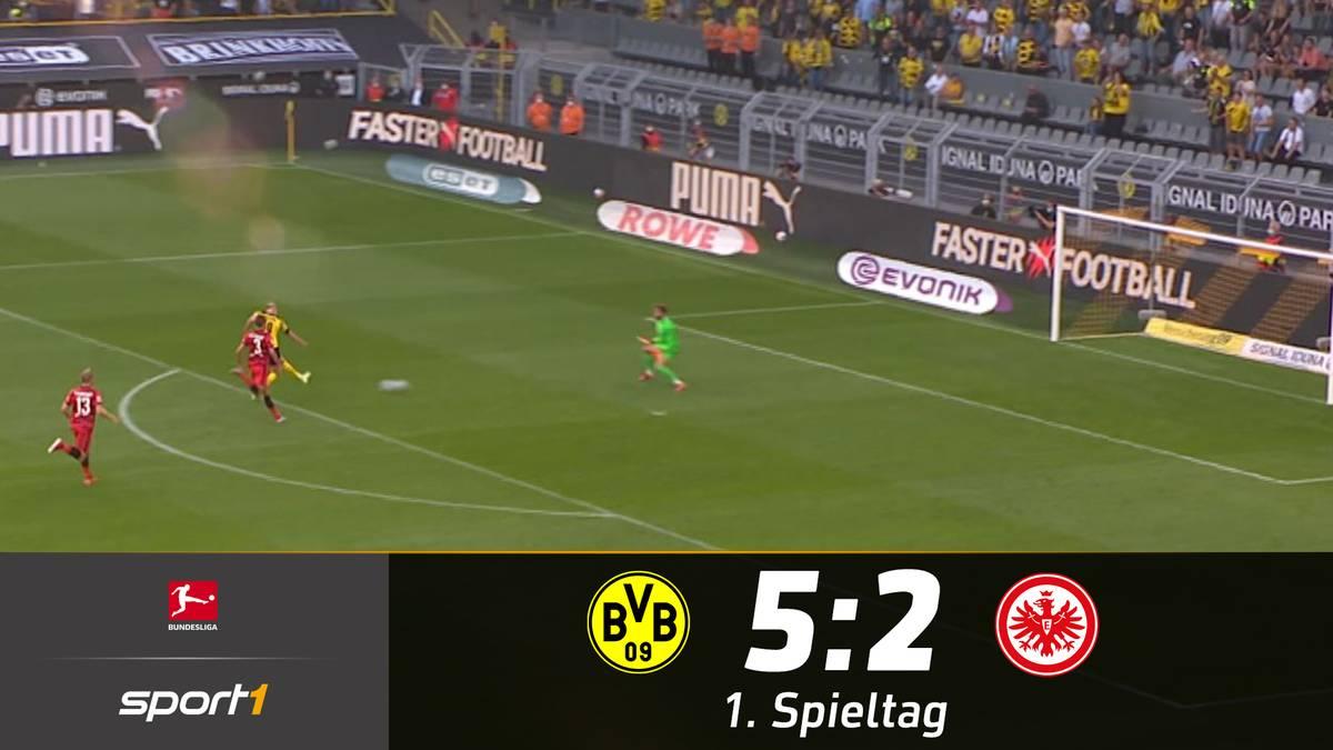 Erling Haaland befindet sich zum Bundesliga-Auftakt bereits in Topform. Beim 5:2 gegen Eintracht Frankfurt ist er an allen BVB-Toren direkt beteiligt.