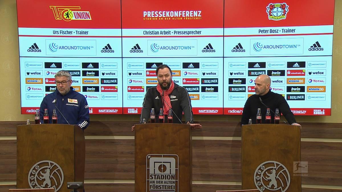 Nach dem Bundesliga-Spiel zwischen Union Berlin und Leverkusen fallen wohl rassistische Aussagen. Peter Bosz und Urs Fischer über den Vorfall.