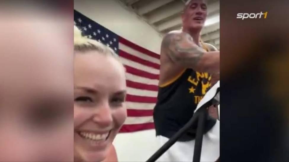 Training mit 'The Rock' höchstpersönlich: Ex-Ski-Star Lindsey Vonn und ihr Freund P.K. Subban werden von Dwayne Johnson ordentlich gedrillt.