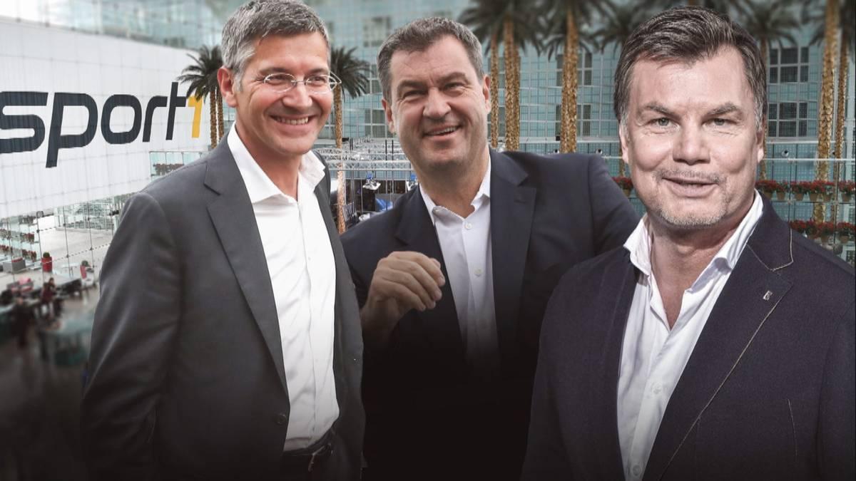 Der CHECK24 Doppelpass vom 17. Mai mit Bayerns Ministerpräsident Markus Söder und Herbert Hainer, Präsident und Aufsichtsratschef des FC Bayern München.