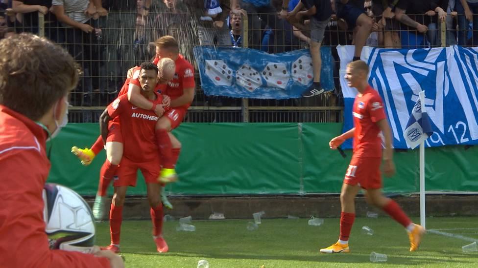 Davie Selke rettet Hertha BSC in der 1. Runde des DFB-Pokals. Für die Fans des SV Meppen wird der Stürmer zur Reizfigur.