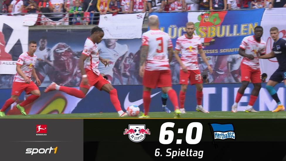 RB Leipzig schießt Hertha BSC mit 6:0 aus dem Stadion. Vor allem Christopher Nkunku zeigte eine große Show und verzückt das Publikum unter anderem mit einem direkten Freistoß-Tor.