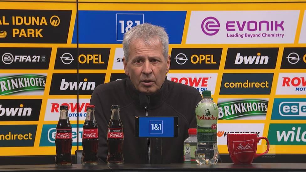 Lucien Favre zeigt sich nach dem souveränen Sieg im Revierderby zufrieden mit der Leistung seines Teams. Ihn freut besonders die gelungene Reaktion nach der Lazio-Pleite.