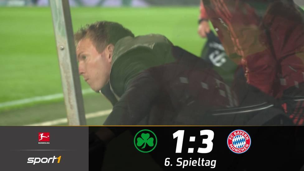 Der FC Bayern München erledigt seine Aufgabe beim Aufsteiger aus Fürth souverän und gewinnt mit 3:1. Für eine kuriose Szene sorgt Bayern-Trainer Julian Nagelsmann.
