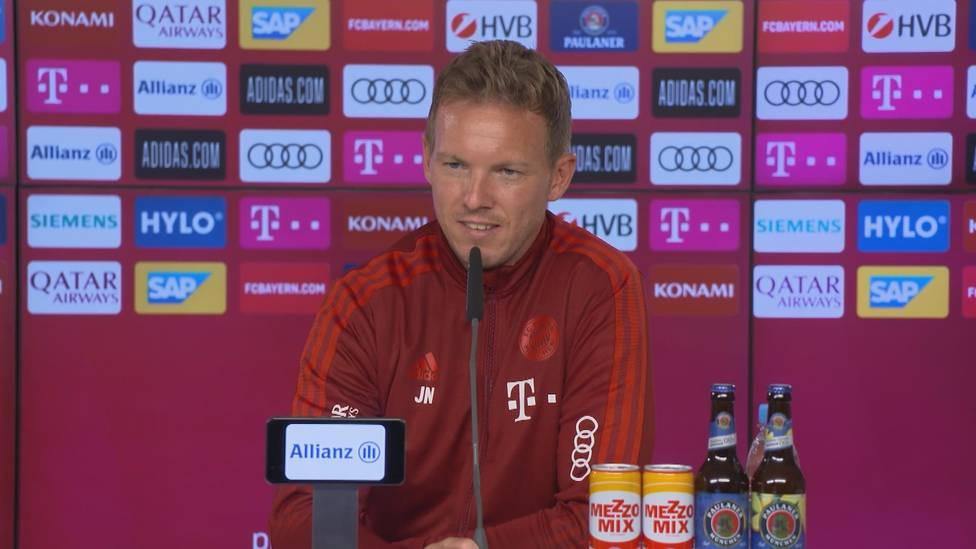 Gab es ein Gespräch zwischen Julian Nagelsmann und Hansi Flick über Leroy Sané? Der Bayern-Coach klärt auf.