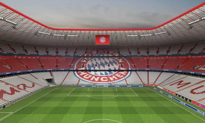 Ein weiteres Highlight: Das Vereinslogo ziert die Nordkurve - und liegt damit genau im Blickfeld der eingefleischten Bayern-Fans, die ihren Platz in der Südkurve haben