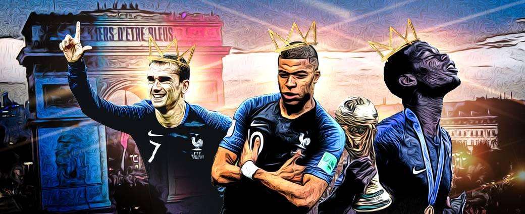 Antoine Griezmann, Kylian Mbappe und Paul Pogba (v.l.) sind tragende Säulen des neuen Weltmeisters Frankreich