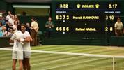 Novak Djokovic steht nach seinem dramatischen Halbfinal-Sieg über Rafael Nadal im Wimbledon-Finale