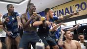 Benjamin Mendy and Corentin Tolisso celebrated winning the World Cup with France this summer