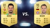 TORWART: Roman Bürki - Gesamtstärke 81 vs. Manuel Neuer - Gesamtstärke 90 - DORTMUND vs. BAYERN: 0-1