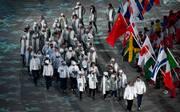 Auch bei der Abschlussfeier durften die russischen Athleten nicht unter der eigenen Flagge auflaufen