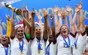 Frauen-WM 2019: Weltmeister USA bei der Rückkehr gefeiert, Die US-Amerikanerinnen feiern den Gewinn des WM-Titels
