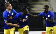 Ibrahima Konate (M.) erzielte den zweiten Treffer für RB Leipzig in Trondheim