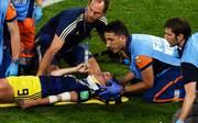 Schwedens Kosovare Asllani wird kurz vor Schluss des WM-Halbfinals gegen die Niederlande mit einer Trage vom Platz gebracht