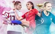 Alexandra Popp (l.) und die DFB-Frauen müssen bei der Frauen-WM an Alex Morgan (M.) und den USA vorbei, aber auch die Französinnen (mit Eugénie Le Sommer) sind nicht zu unterschätzen