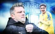 Jena-Coach Lukas Kwasniok (l.) findet bei SPORT1 deutliche Worte über seinen ehemaligen Spieler Kevin Pannewitz