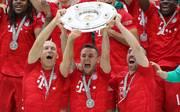 Arjen Robben, Rafinha und Franck Ribéry feierten ein letztes Mal mit dem FC Bayern den deutschen Meistertitel