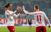 Yussuf Poulsen (l.) und Timo Werner sind in dieser Saison die besten Torschützen von RB Leipzig
