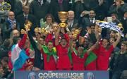 Paris Saint-Germain bejubelt den Sieg im Ligapokal