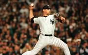 New York Yankees relief pitcher John Wetteland, sh