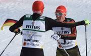 Johannes Rydzek und Eric Frenzel laufen am Freitag im Teamsprint
