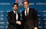 Trainer Thomas Tuchel und PSG-Boss Nasser Al-Khelaifi bei der Vorstellung des Deutschen