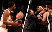 Joel Embiid (l.) und Jared Dudley (r.) gerieten beim Spiel der Sixers gegen die Nets aneinander