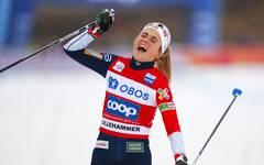 Therese Johaug hatte einen riesigen Vorsprung bei ihrem Sieg