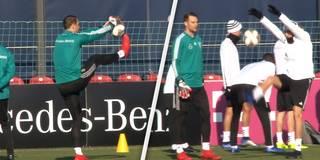 Seltsamer Trick: Goretzka und Neuer albern beim DFB-Training herum